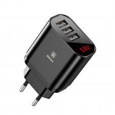 Baseus Mirror Lake Intelligent Digital Display 3USB Travel Charger 3.4A Black and White