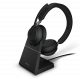 Jabra Evolve2 Black 65 UC Stereo Headset with Wireless charging stand